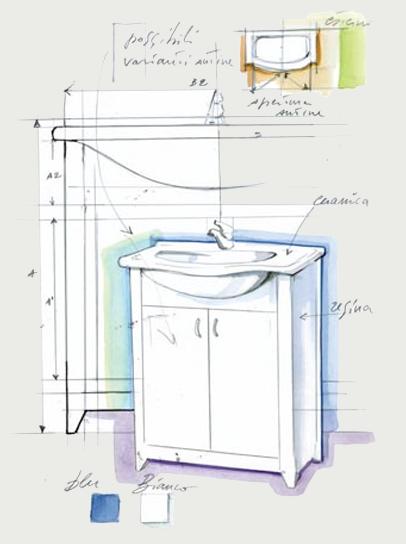 Mobili bagno in Resina